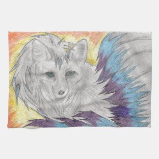 Nine tailed fox - Fantasy drawing Tea Towel