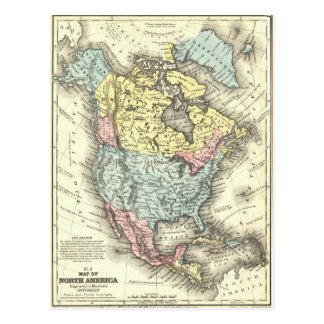Nineteenth Century Antique Map of North America Postcard