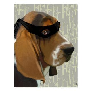 Ninja Basset Hound Dog Postcard