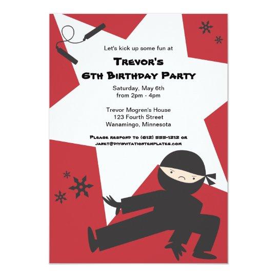 Ninja Birthday Party Invitation
