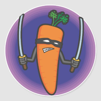 Ninja Carrot Classic Round Sticker