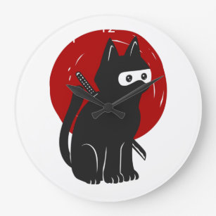 Ninja Cat Silhouette Large Clock