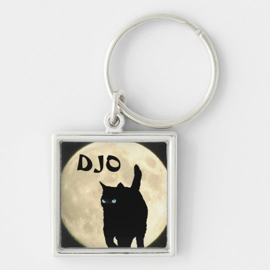 Ninja Cat Silhouette with Full Moon your initials Silver-Colored Square Key Ring