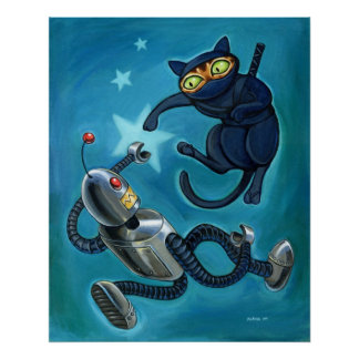 Ninja cat vs Robot Poster