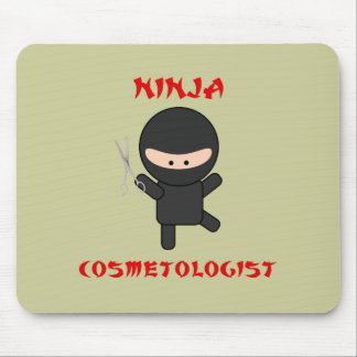ninja cosmetologist with scissors mouse pad