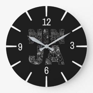 Ninja Elegant Text Art Large Clock