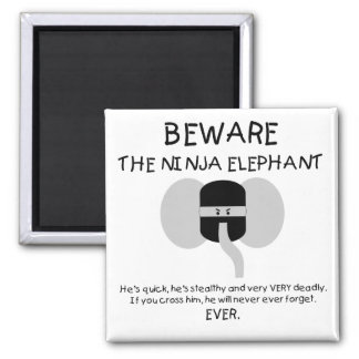 Ninja Elephant Square Magnet