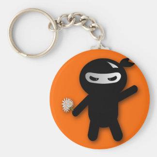 Ninja & Flowers Basic Round Button Key Ring