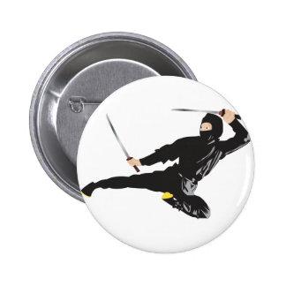 Ninja flying kick 6 cm round badge