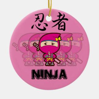Ninja Girl Round Ceramic Decoration