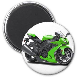 Ninja Green Bike 6 Cm Round Magnet