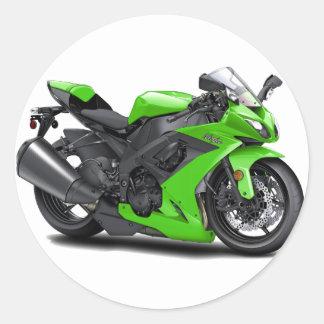 Ninja Green Bike Classic Round Sticker