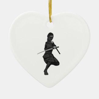 Ninja in Fighting Stance Holding Katana Sword Christmas Ornament