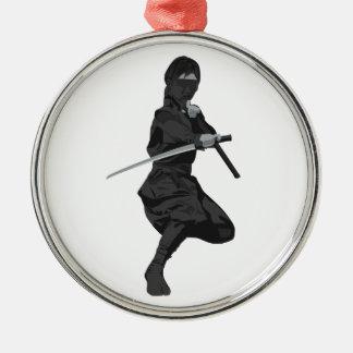 Ninja in Fighting Stance Holding Katana Sword Christmas Tree Ornaments