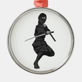 Ninja in Fighting Stance Holding Katana Sword Silver-Colored Round Decoration