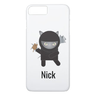 Ninja Kitty Cat Mouse Black Personalize iPhone 8 Plus/7 Plus Case