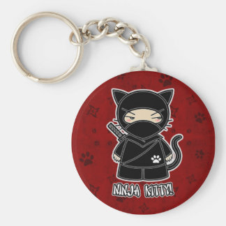 Ninja Kitty In Red Keychain