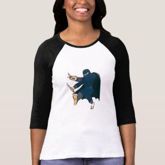 Ninja Masked Warrior Kicking Cartoon Tshirts