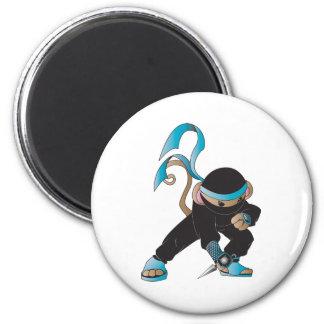 ninja monkey 6 cm round magnet