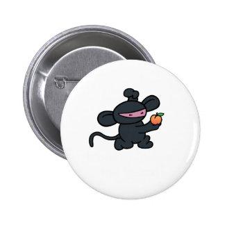 Ninja Monkey Steals the Peach Pinback Buttons