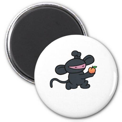 Ninja Monkey Steals the Peach Refrigerator Magnet