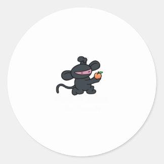 Ninja Monkey Steals the Peach Round Sticker