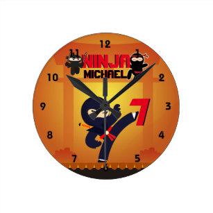 NINJA Movie Star Warrior Kicking it Karate Kids Round Clock