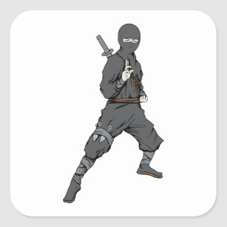 Ninja ~ Ninjas 5 Martial Arts Warrior Fantasy Art Square Sticker