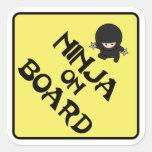 Ninja on Board Square Stickers
