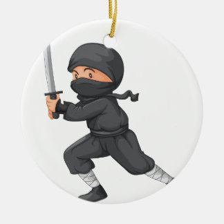 Ninja on white round ceramic decoration