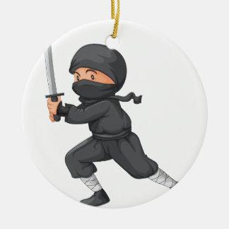 Ninja on white round ceramic decoration