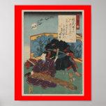 Ninja Painting circa 1853 Japan Poster
