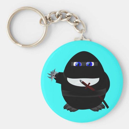 Ninja Penguin Basic Round Button Key Ring