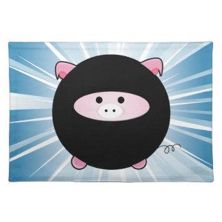 Ninja Pig on Blue Place Mats