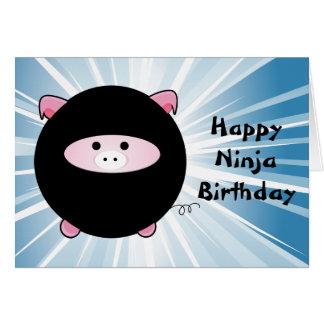 Ninja Pig on Blue Happy Birthday Card