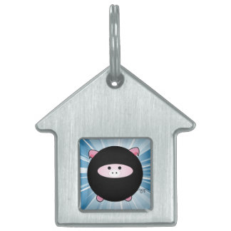 Ninja Pig on Blue Pet Tag