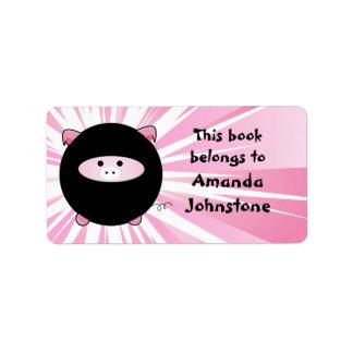 Ninja Pig on Pink Bookplate Address Label