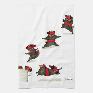Ninja Pug Snack Attack! Tea Towel