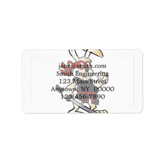 ninja rabbit cartoon address label