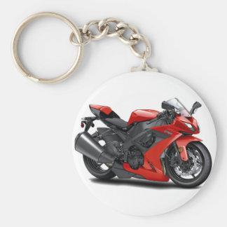 Ninja Red Bike Basic Round Button Key Ring