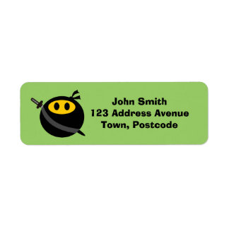 Ninja smiley face return address label