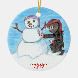 Ninja Snowman Christmas Ornament