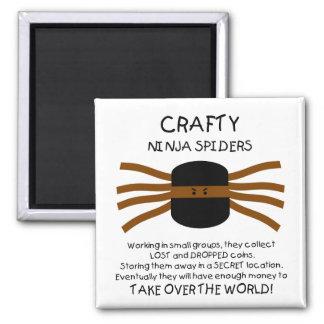 Ninja Spiders! Square Magnet