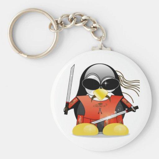 Ninja Tux Basic Round Button Key Ring