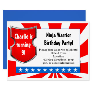 Ninja Warrior Birthday Party Kids Boys Patriotic Card