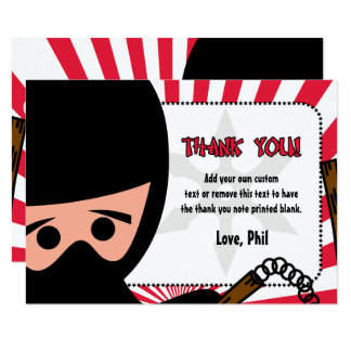 Ninja Warrior Thank You Cards