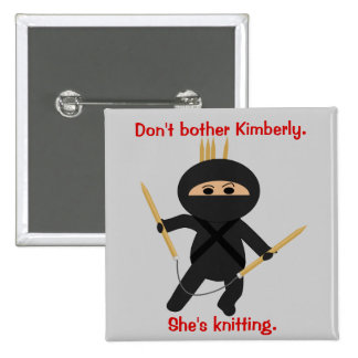 Ninja With Circular Knitting Needles 15 Cm Square Badge