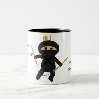 Ninja With Circular Knitting Needles Mug