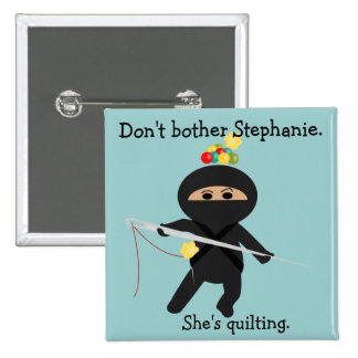 Ninja with Sewing Needle 15 Cm Square Badge