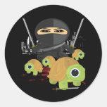 Ninja with Turtles Round Stickers